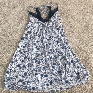 navy and white shift dress with lace!